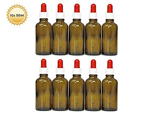 10 x 50 ml pipette bottles (brown glass) with glass pipette, brown glass bottles with dosing pipette or dropping pipette for dosage of liquids such as eye drops, incl. 10 labels