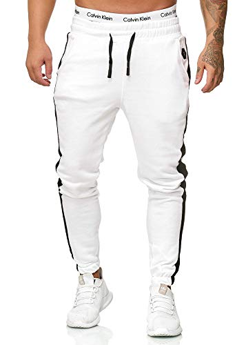 OneRedox Herren Jogging Hose Jogger Streetwear Sporthose Modell 1211 Weiss S (Jogging-outfit Weiße)