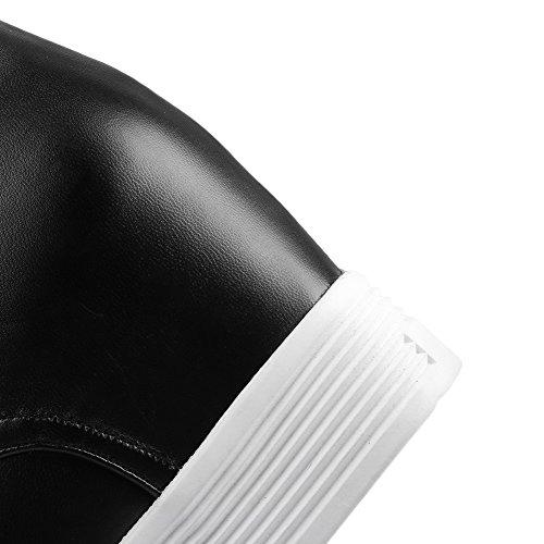 AgooLar Femme Haut Bas Couleur Unie Lacet à Talon Haut Bottes Noir