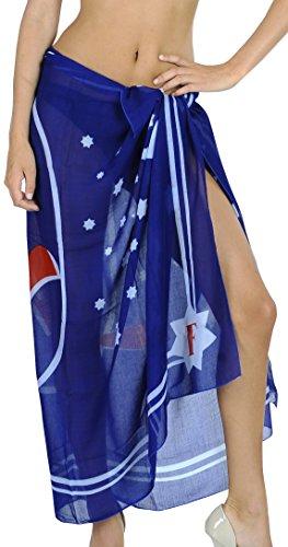 LA LEELA teri Voile Känguru hawaiische Sarong Pareo dunkelblau 72x42 Zoll blau -