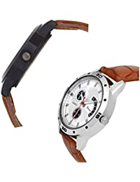 Iconic Analogue Round Dial Leather Strap Latest Combo Wrist Watches - For Men