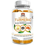 Organic Turmeric Curcumin Capsules with Black Pepper and Ginger for Enhanced Absorption 120 Veg. Capsules by Unchained Warrior® UK | 2070 mg Per Serving | High Strength | Soil Association Certified