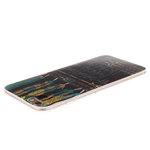 """SsHhUu iPhone 6 Plus Coque, Unique Letter Style Design Ultra Slim Doux TPU Flexible Durable Gel Silicone Protecteur Rear Skin Painting Art Étui Housse Case Cover Pour Apple iPhone 6s Plus 5.5""""; Feather & Letter"""
