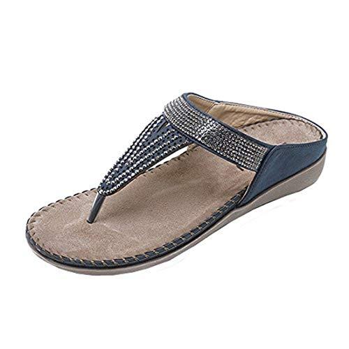NEEKY Frauen Flache Schuhe Bead Böhmen Lady Slipper Sandalen Peep-Toe Outdoor Schuhe Slipper Damen Sandalen Sommerschuhe Pu Leder (37,Blau)