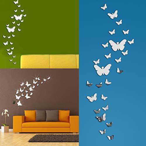 60 Mariposa Combinación Espejo De Pared Pegatinas Decoración