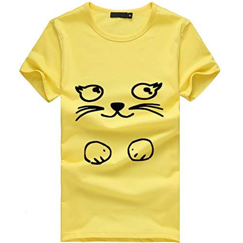 se Elegant Kleid Damen Freizeit Lose Rundkragen Spitze der Art und Weise Frauen Lose Kurzarm Kostüme Drucken Tank Top T-Shirt Tunika(X1-d-gelb,EU-38/CN-L) ()