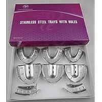 Portal Cool 8 unids impresión dental autoclave de acero inoxidable dentadura bandeja de instrumentos higiene bucal bandeja dental herramientas de laboratorio dental