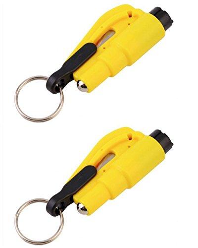 YYGIFT 2er Set Auto Notfallwerkzeug 3 in 1 Notfallhammer und Gurtschneider als Schlüsselanhänger Rettungswerkzeug Rettungsmesser Glasbrecher Must Have für jeden Autofahrer