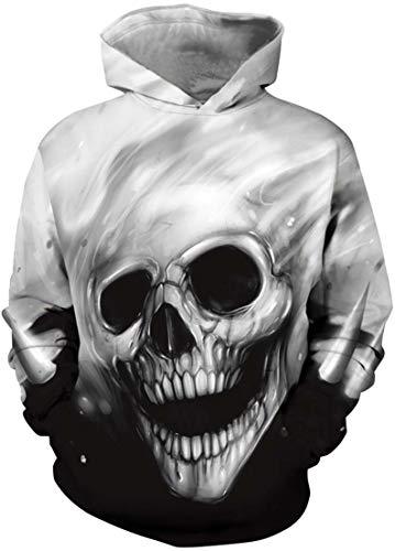 OLIPHEE Jungen 3D Cartoon gedruckt Pullover Long Sleeve Pulli für Kinder Schwarz und Weiß Skelett M (Skelett Pullover Für Jungen)