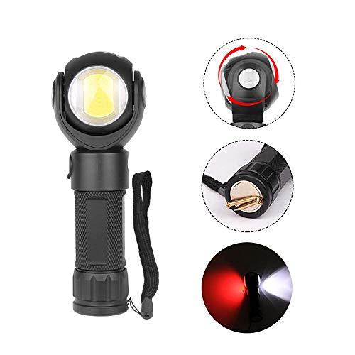 OOOUSE Lampe de Poche Rechargeable Micro USB 600 lumens T6 COB LED avec Base magnétique pivotant à 360 degrés 7 Modes d'éclairage pour réparation de Voiture, Utilisation Domestique et d'urgence