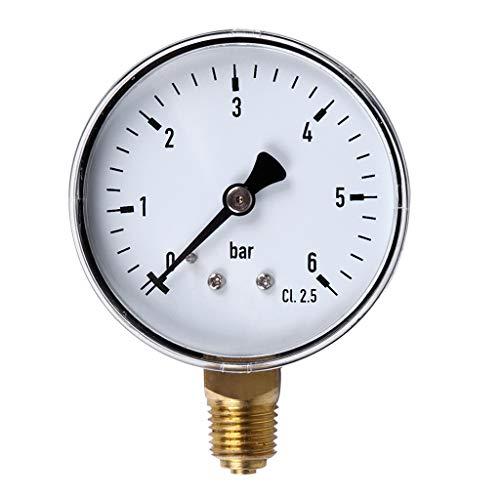 Pennyninis 1PC 0-6 Bar Manometer Wasser Gas Luftdruckverdichter 1/4 '' NPT Seitenmontage -