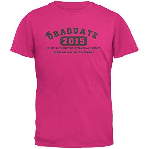 Graduate Internet Energy Drink Funny Graduation Pink Adult T-Shirt