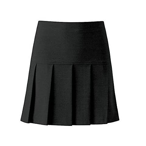 Womens Girls Reverse Black Pleated Skirt School Black Skirt School Uniform (SIZE 18, BLACK)