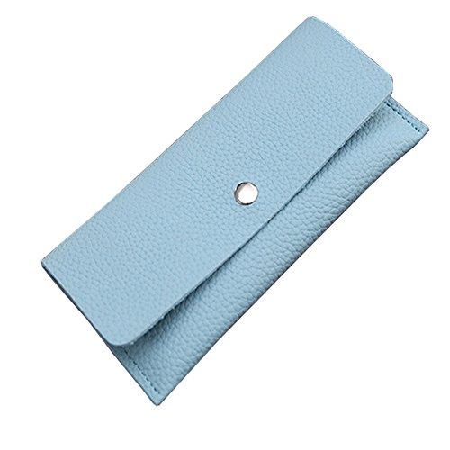 Portafoglio di cuoio dell'unità di elaborazione delle borse della borsa di lusso della borsa di lusso delle signore con la tasca della chiusura lampo (DarkBlue) Azzurro