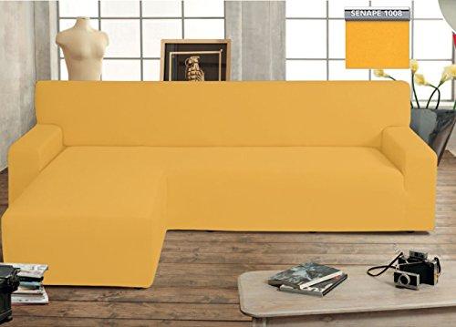 Biancheriaweb copridivano genius con penisola chaise longue modello swing colore senape sinistra senape