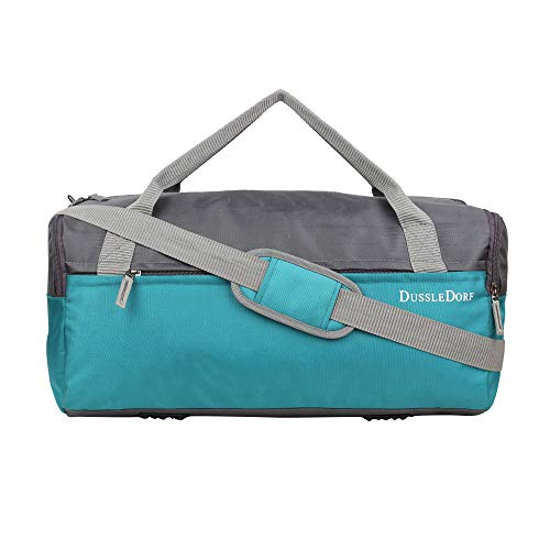 Dussle Dorf Polyester 35 Liters Grey and Turquoise Travel Duffel...