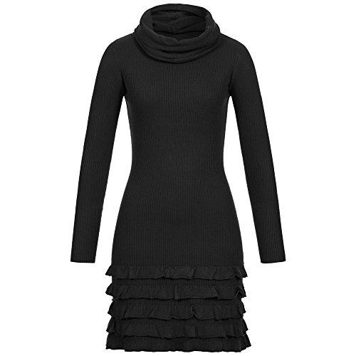 Rundhals Kleid mit Loop Schal Langarm Strickkleid mit Kaschmir gerüscht XS S M L (Schwarz, M/L)