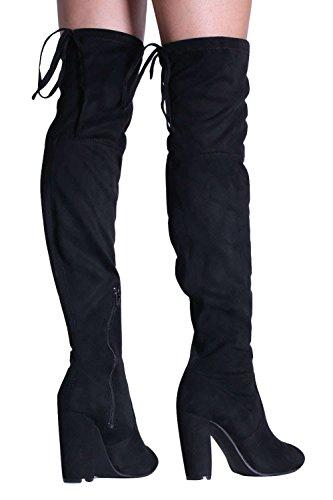 PILOT® faux bloc en daim talon haut sur les bottes au genou Noir