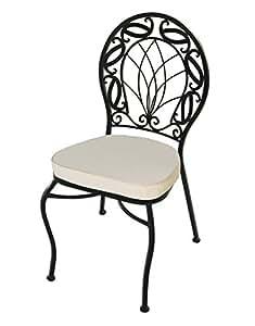 Sedie sedia slim in ferro battuto con cuscino for Panchina ferro battuto amazon