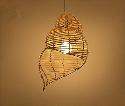 H&M Eclairage de plafond Luminaires Lustre Suspension Conque Bambou rotin lustre lustre la lampe en bois de salle à manger salon chambre à coucher