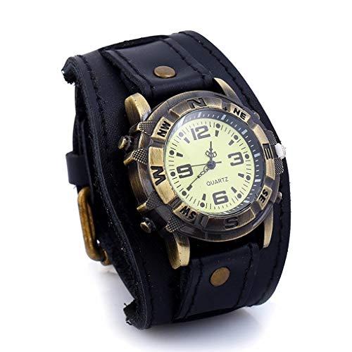 JL Herren Lederarmband, verstellbares Vintage-Armband mit Manschette, Unisex 10-Zoll-Uhr mit antiker Messing-Bronze-Ton-Lünette,Black