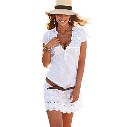 Kleider Damen Dasongff Frauen Sommerkleider V-Ausschnitt Minikleid Spitze Kurzarm-Kleid Strandkleid T-Shirt Tops Kleid (XL, Weiß) (Rüschen Lange Ärmel)