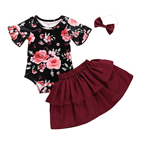 MEIbax Sommerkleid Mädchen Flower Print Strampler und Sommer Shirts Outfits Sets + Stirnband Babybekleidung Blumenkleid Baby Kostüm