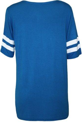 WearAll - Damen '85' Druck Kurzarm Baseball Trikot T-Shirt Top - Schwarz - Größe 36-42 Königsblau