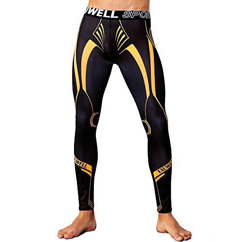 Celucke Sport Leggings Herren Laufhose Strumpfhose mit Print, Männer Funktionswäsche Pro Cool Compression Tights Fitness Hose mit Quick-Dry-Funktion