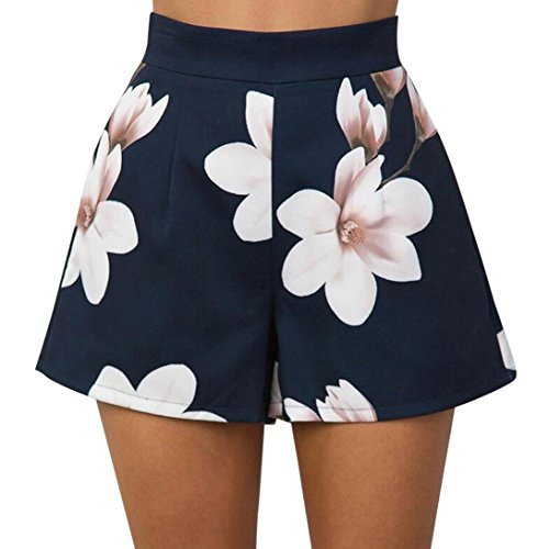 Short CLOOM Kurze Hosen Damen Sommer Shorts High Waist Leggings Sporthosen Kurze Shorts Hot Pants Stretch Short für Fitness, Laufen Yoga Sportshorts Badeshorts Boardshorts Strandshorts (S, Marine) (Print-stretch-shorts)
