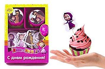 Set von hellen bedruckt Unterstützung Tassen 24PCS und 24Plektren Topper Lebensmittel Dekoration Mascha und der Bär für Kuchen Cupcakes Muffins muss Zubehör für die Party und Geburtstag Masha Y El Oso Para Niños