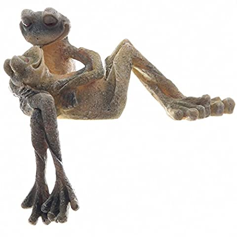 GARDEN ORNAMENT - Cute LONG LEGGED GARDEN FROG Figures - Kissing - Ideal Pond Statue - 22cm