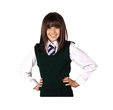 Schoolwear Girls U-Neck Slipover Wool Mix Sleeveless Jumper Kids School Tanktop (7/8 Years, Navy)