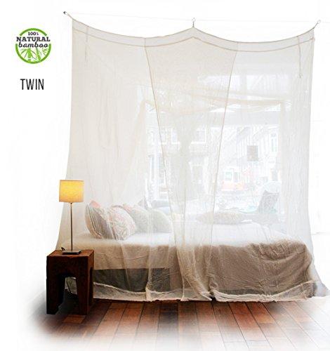 Rechteckiges Bambus Moskitonetz - oder Doppelbetten von KLAMBOE ® Überlegenes, handgemachtes, Rechteckiger Mückennetz - 220cm x 200cm x 235cm - Twin - Weiß