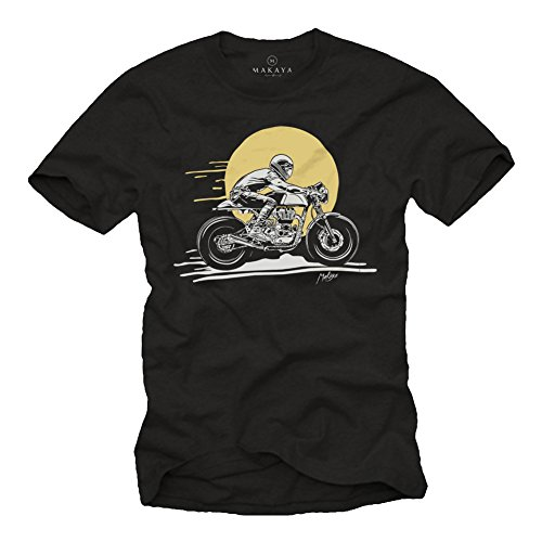 MAKAYA Abbigliamento Moto - Magliette Vintage Cafe Racer - Regalo Motociclista - T-Shirt Biker Uomo Nera XL