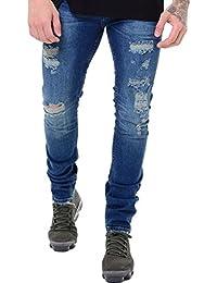 Mens Arrested Skinny Stretch Zip Rip Distress Biker Designer Slim Denim Jeans
