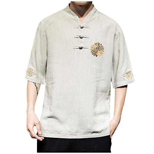 Haughtily Herren Vintage Stickerei Leinen Knöpfe T-Shirt Tops O-Ausschnitt Kurzarm Sommer Plus Size Beiläufige Lose Bluse Scoop Neck Fleece Sweatshirt