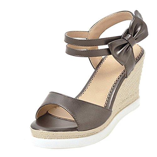 YE Damen Knöchelriemchen Sandalen Keilabsatz High Heels Plateau mit Schleife und Schnalle 9 cm Absatz Elegante Schuhe Silbergrau
