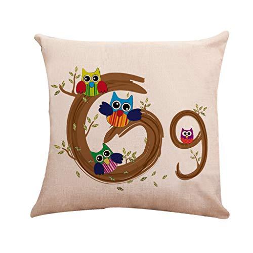 Storerine Leinen Vogel Kissenbezug, einfaches und Brief Baumwolle Kissen Kissenbezug Alphabet, dekoratives Wohnzimmer, 45 cm x 45 cm (Tie Vogel Clip)