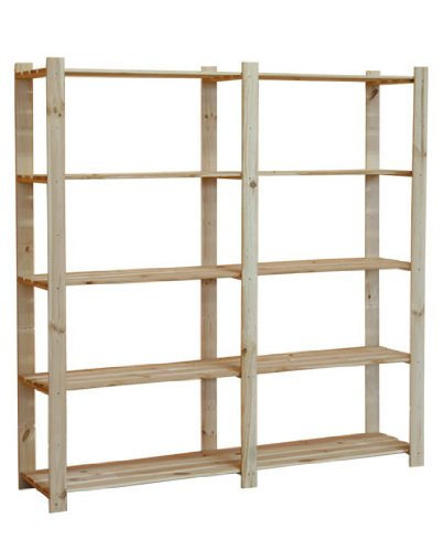 HOLZREGAL B-03 5 BÖDEN BÜCHERREGAL MASSIVHOLZREGAL KELLERREGAL BÜROREGAL 170x170x40 cm 17 mm Holzstärke - 3 Regal 5 Regal Bücherregal