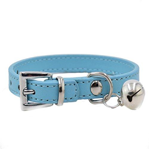 Klassische Hundehalsband PU Leder Halsbänder mit Glocke 1.0cm Breit 17-28cm Halsumfang XXS XS für kleine Hunde Welpen Katze, Blau XXS