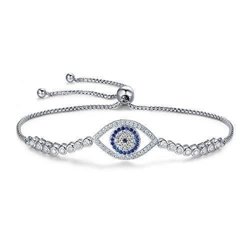 Qings braccialetto regolabile per evil eye bracciale realizzato in argento 925 con cristalli blu, placcato oro bianco, regalo per donna ragazza