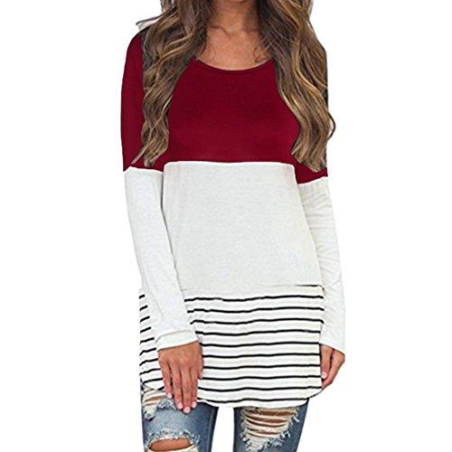OverDose Damen Langarm Shirt Bluse Tunika Oberteile Streifen Lace Loose Pullover Lang Sleeve Tops (M,A-Wine ) (Indianer-perlen-streifen)