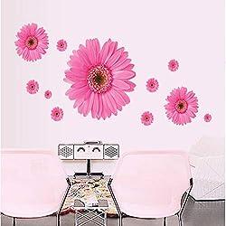 Etiqueta de la pared Rosa Margarita Flores Tatuajes de pared Decoración Del Hogar Armario Armario Refrigerador Decoración Mural Cartel Extraíble Pegatinas de Pvc Arte