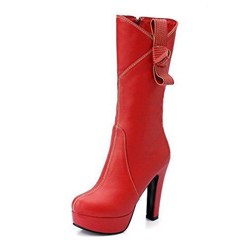 VogueZone009 Damen Reißverschluss Rund Zehe Hoher Absatz PU Leder Stiefel mit Schnalle, Rot, 41