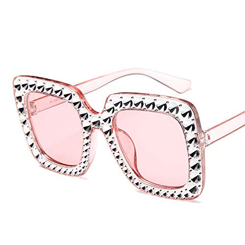 GY-HHHH Klassisches Retro-Outdoor-EssentialShiny Diamond Sunglasses Frauen Markendesign Flash Square Shadow Female Mirror Sonnenbrille Oculos Lunette Bling Rhinestone_Pink