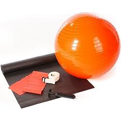 Ultrasport Set de Yoga de 5 Piezas para Entrenar - Kit de Pilates incluye Pelota de Yoga, Bomba, Esterilla, Banda de Resistencia y Correa de Estiramiento