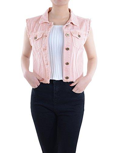 5-button Weste (Anna-Kaci Damen Blau Denim Distressed ausgefranst Button Up ärmellos Jeans Jacke Weste)