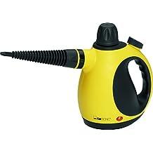 Clatronic DR 3653 - Vaporeta limpiador al vapor compacto de mano, 9 accesorios, 3.5 bares, 1050 w, color amarillo y negro