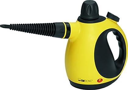 Clatronic DR 3653 Vaporeta Limpiador al Vapor Compacto de Mano, 9 Accesorios, 3.5 Bares, 1050 w, Color Amarillo y Negro